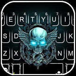 Neon Skull Wing Keyboard Theme