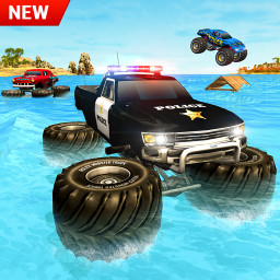 Police 6x6 Monster Truck Water Surfing Chase Games